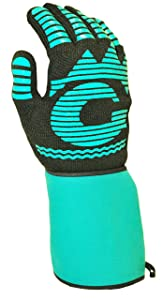 G & F 1685 1 Piece Heat Resistant BBQ Grilling Cooking Glove Mitt with Easy Slip on and off cuff, extra long and wide