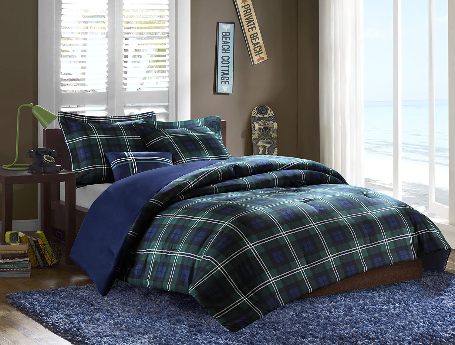 images blue set twin all comforter green and plaid
