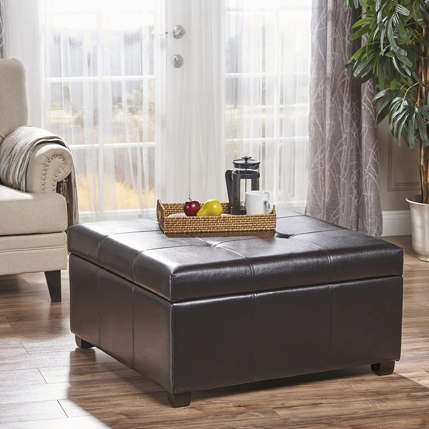 Christopher Knight Home 233829 Patsy Espresso Tufted Leather Storage Ottoman