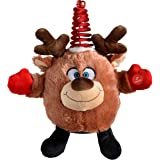 WeRChristmas Novelty Spinning Dancing Musical Reindeer Christmas Decoration, 24 cm - Multi-Colour