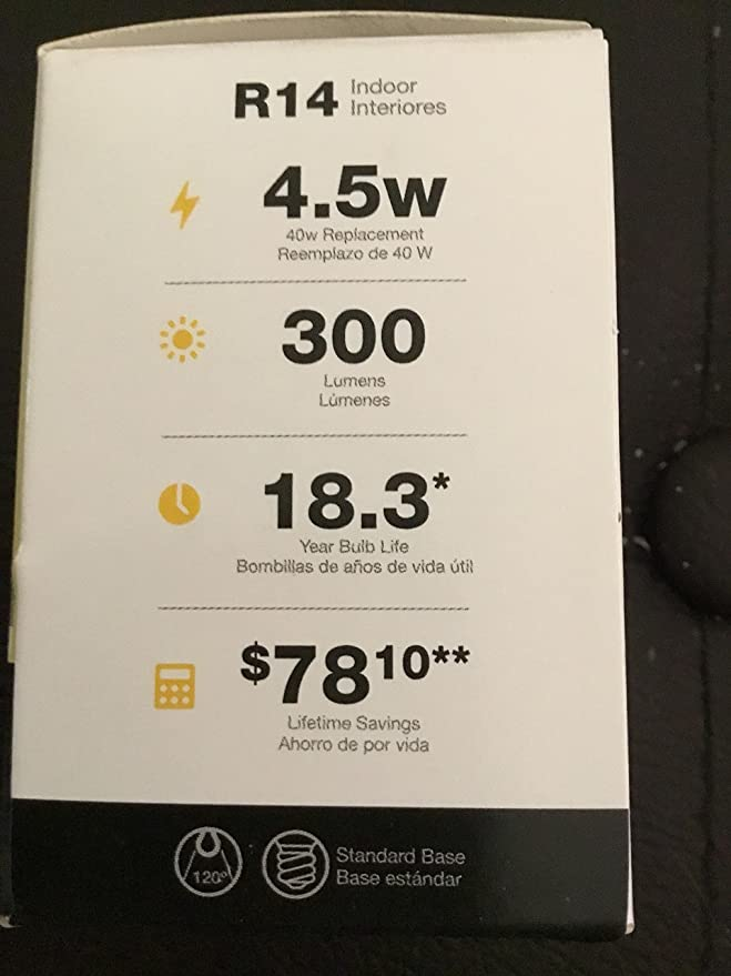 Utilitech 4.5-Watt (40 W) R14 Soft White LED Spotlight Bulb 477033 - - Amazon.com