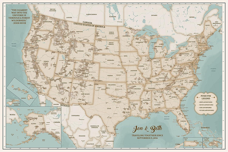 Amazon.com: Push Pin Maps National Park Canvas Interactive ...