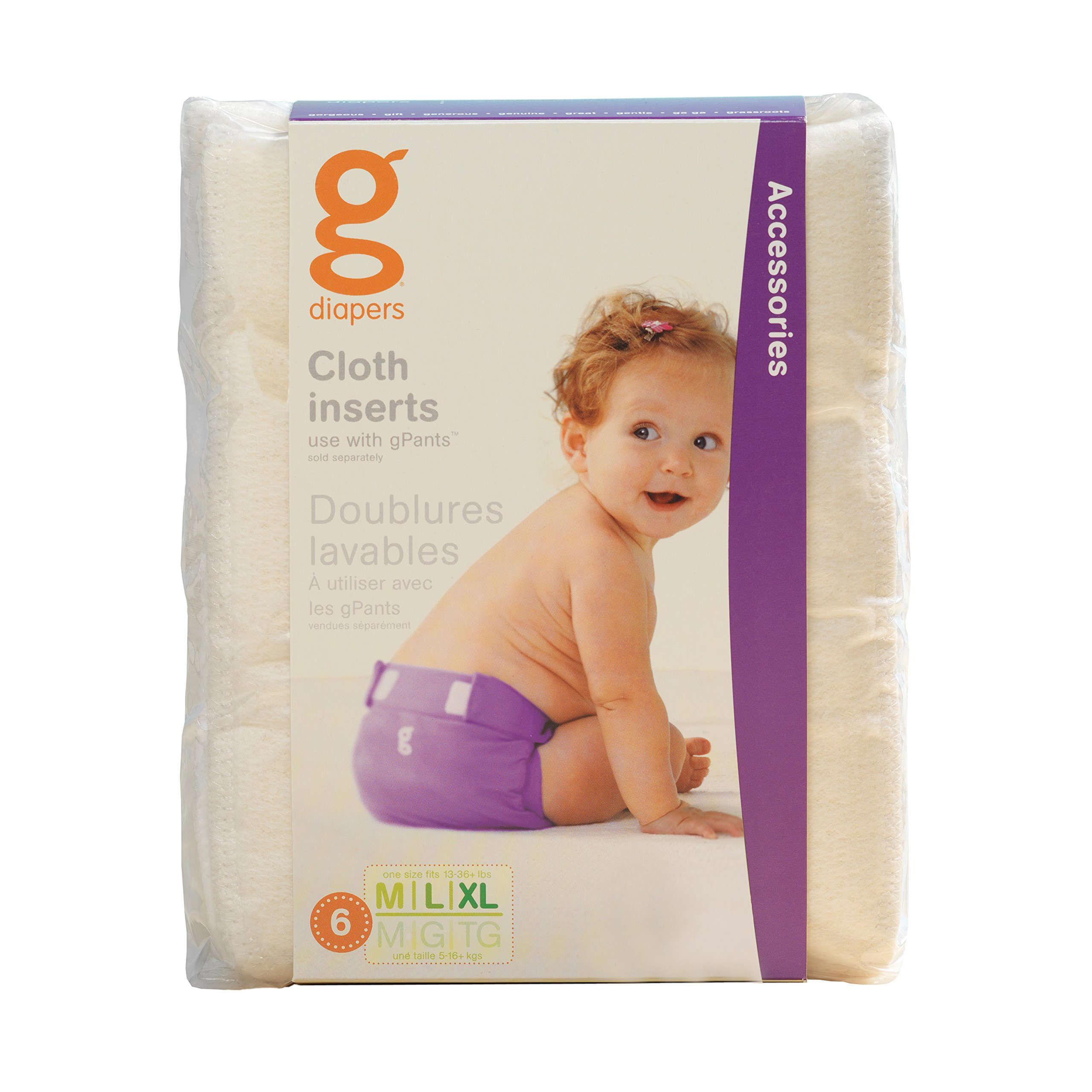 gDiapers Cloth Inserts, Medium/Large/X-Large (6 Count)