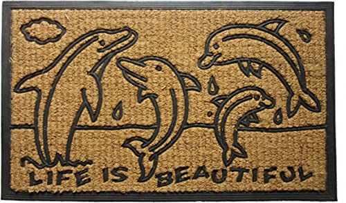 Imports Decor Rubber Back Coir Doormat, Dolphin Family, 18 by 30