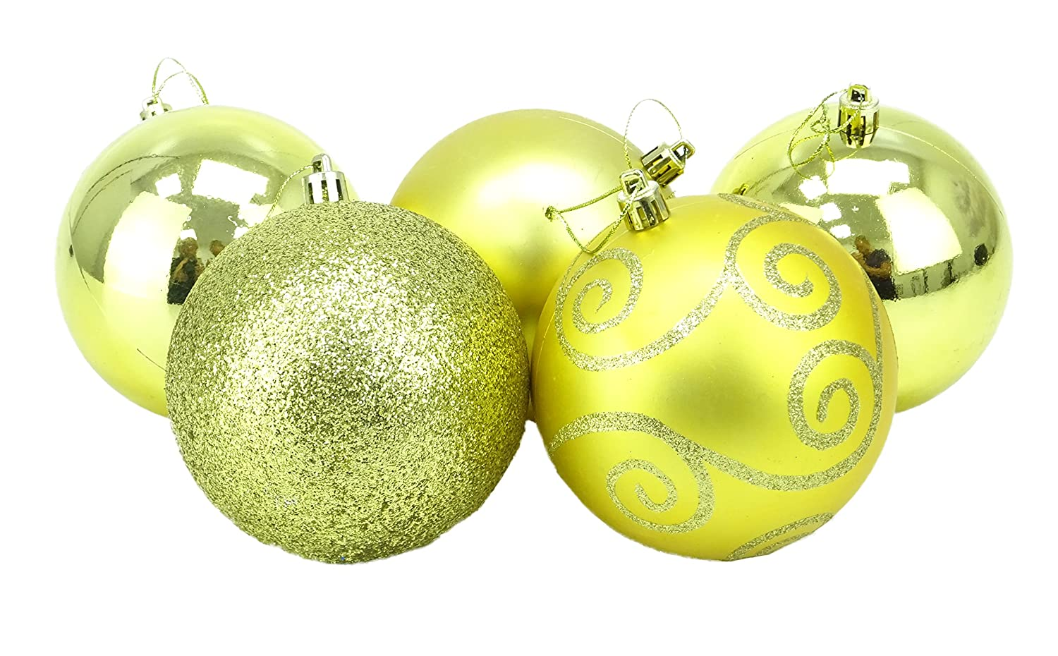 Christmas Concepts® Pack of 5 - Extra Large 100mm Christmas Tree Baubles - Shiny, Matte & Glitter Decorated Baubles (Copper)