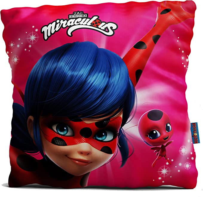 Arditex LB11723 Coussin Miraculous Ladybug rouge 35x35cm