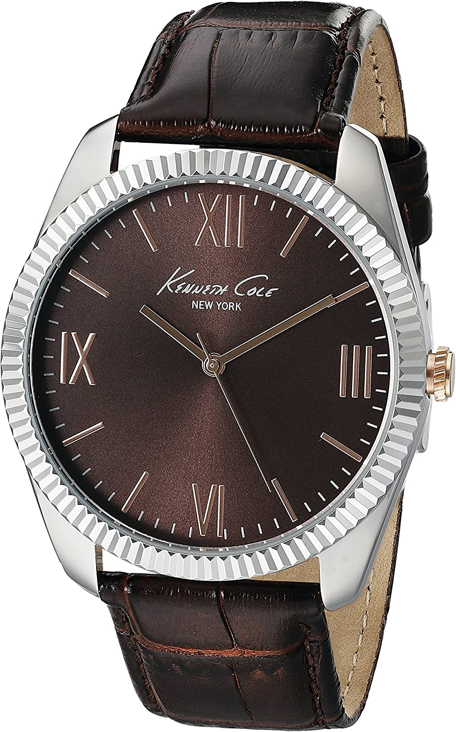 Kenneth Cole New York Men s 10019681 Silver-Tone Watch with Brown Dial and Brown Strap