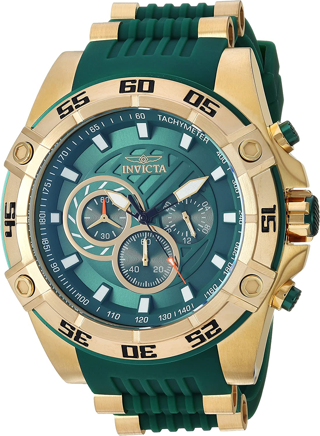 Invicta Men s Speedway Stainless Steel Quartz Watch with Silicone Strap, Green, 27 Model 25509