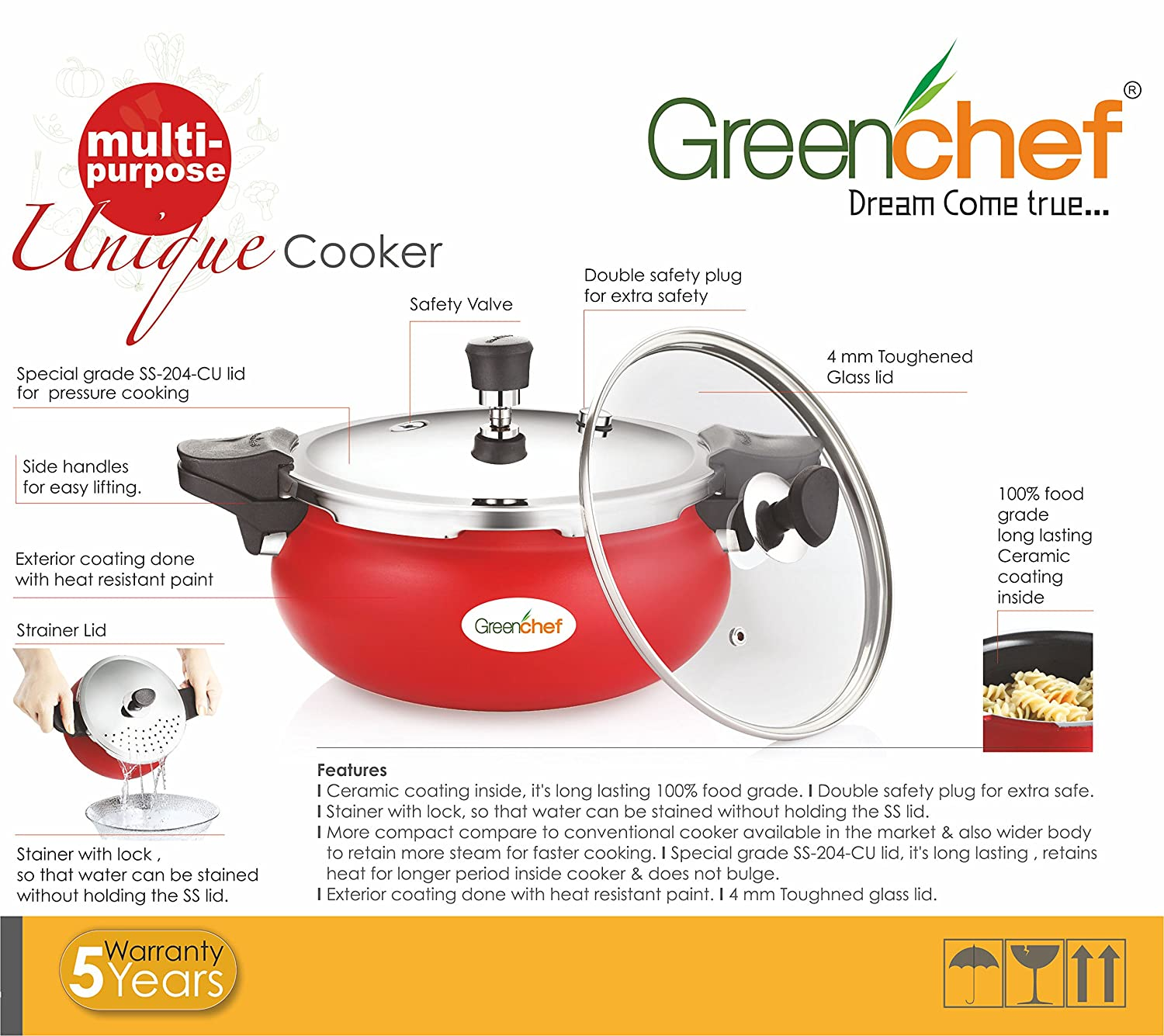 Buy Greenchef Unique 3 L Multi Purpose Pressure Cooker Online At Low Induction Circuit Boardelectric Cookerinduction Prices In India
