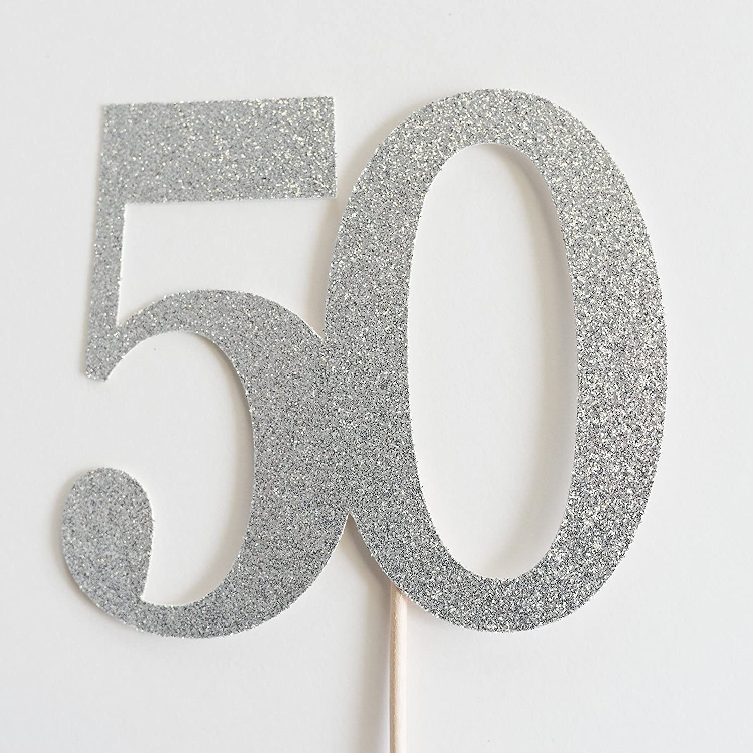 Silver Glitter 50 Cake Topper, 50th Wedding Anniversary, Fiftieth Birthday, Fifty