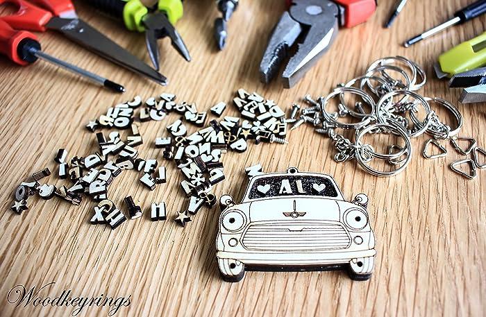 Mini Cooper Car Keyring Personalised Handmade Wood Keyrings With