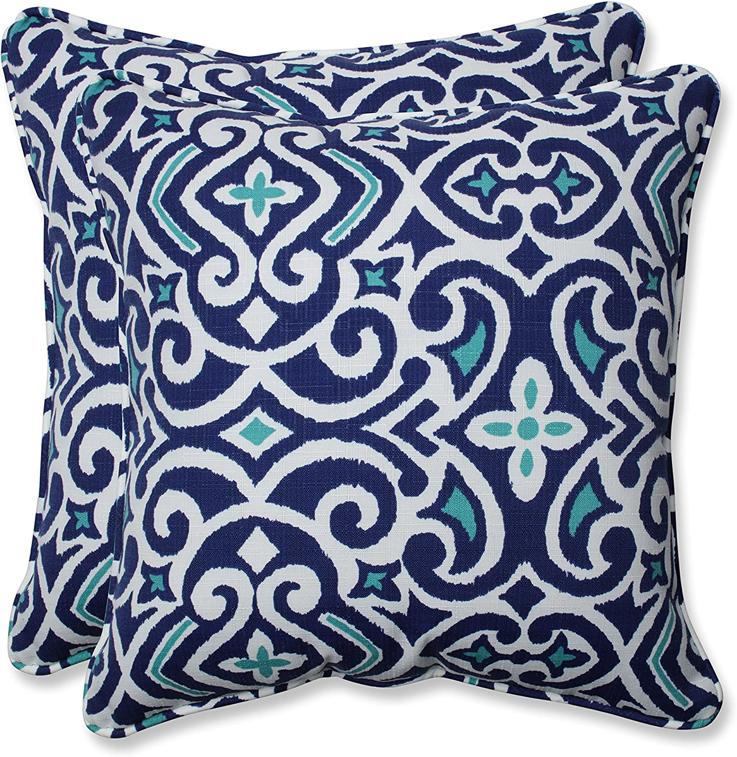 Pillow Perfect Outdoor | Indoor New Damask Marine 18.5-inch Throw Pillow (Set of, 2 Piece