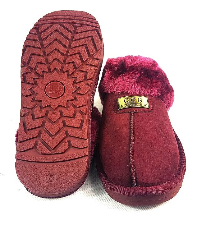 Zapatillas de casa de piel de oveja de imitación para mujer, original de GCG, suela rígida antideslizante, sintético, Red Wine, 6: Amazon.es: Hogar