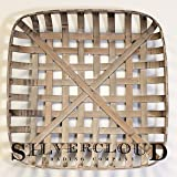 "Silvercloud Trading Co. Tobacco Basket, Farmhouse Decor, Large 25"" Square"
