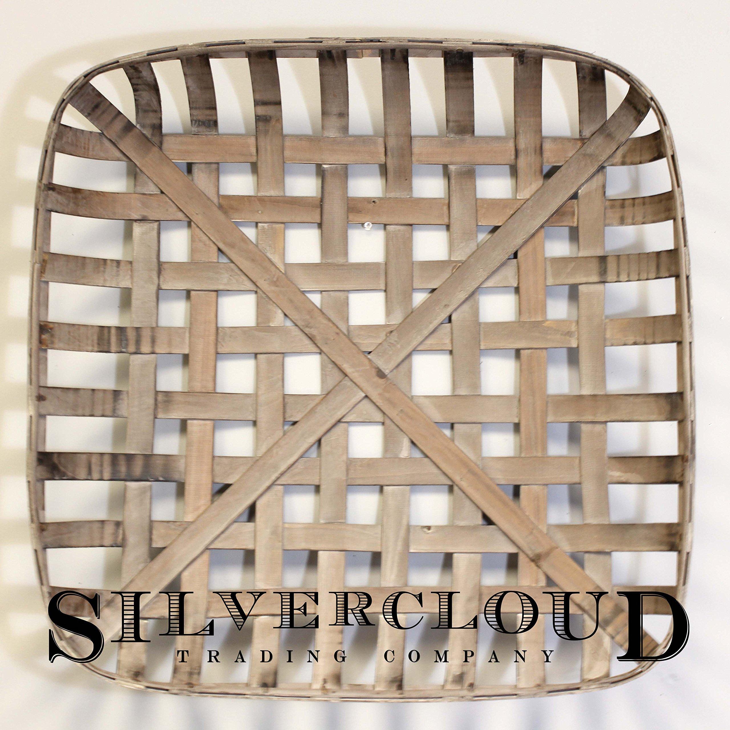 Silvercloud Trading Co. Tobacco Basket, Farmhouse Decor, Large 25'' Square