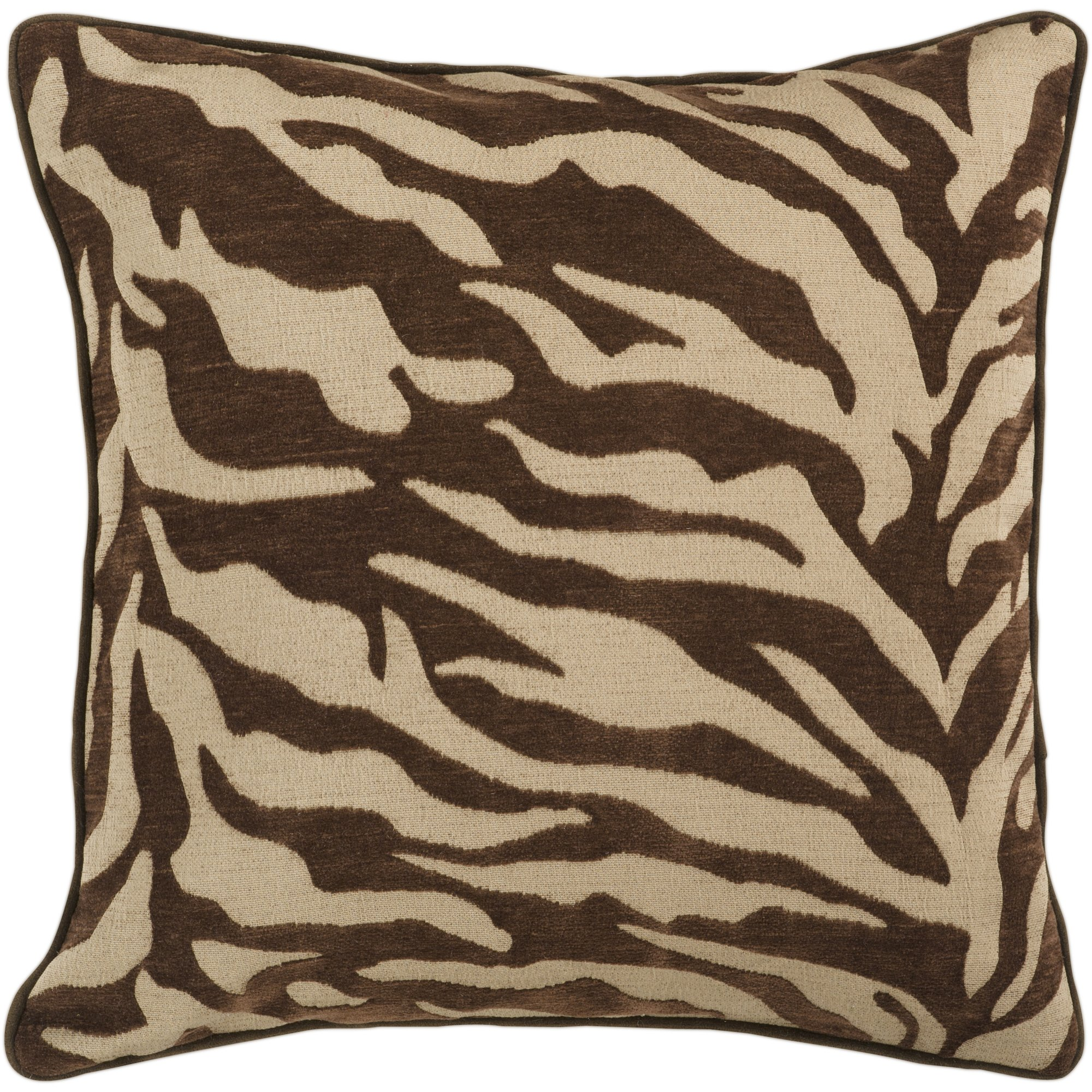 Surya JS-033 Contemporary Hand Crafted 100% Poly Brown 18'' x 18'' Animal Decorative Pillow