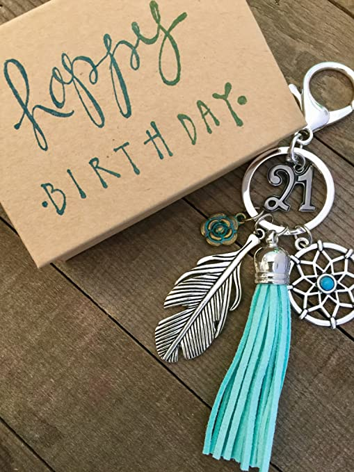 Dream Catcher 21st Birthday Gift For Her Adorable Key Chain Packaged In Hand Stamped Box