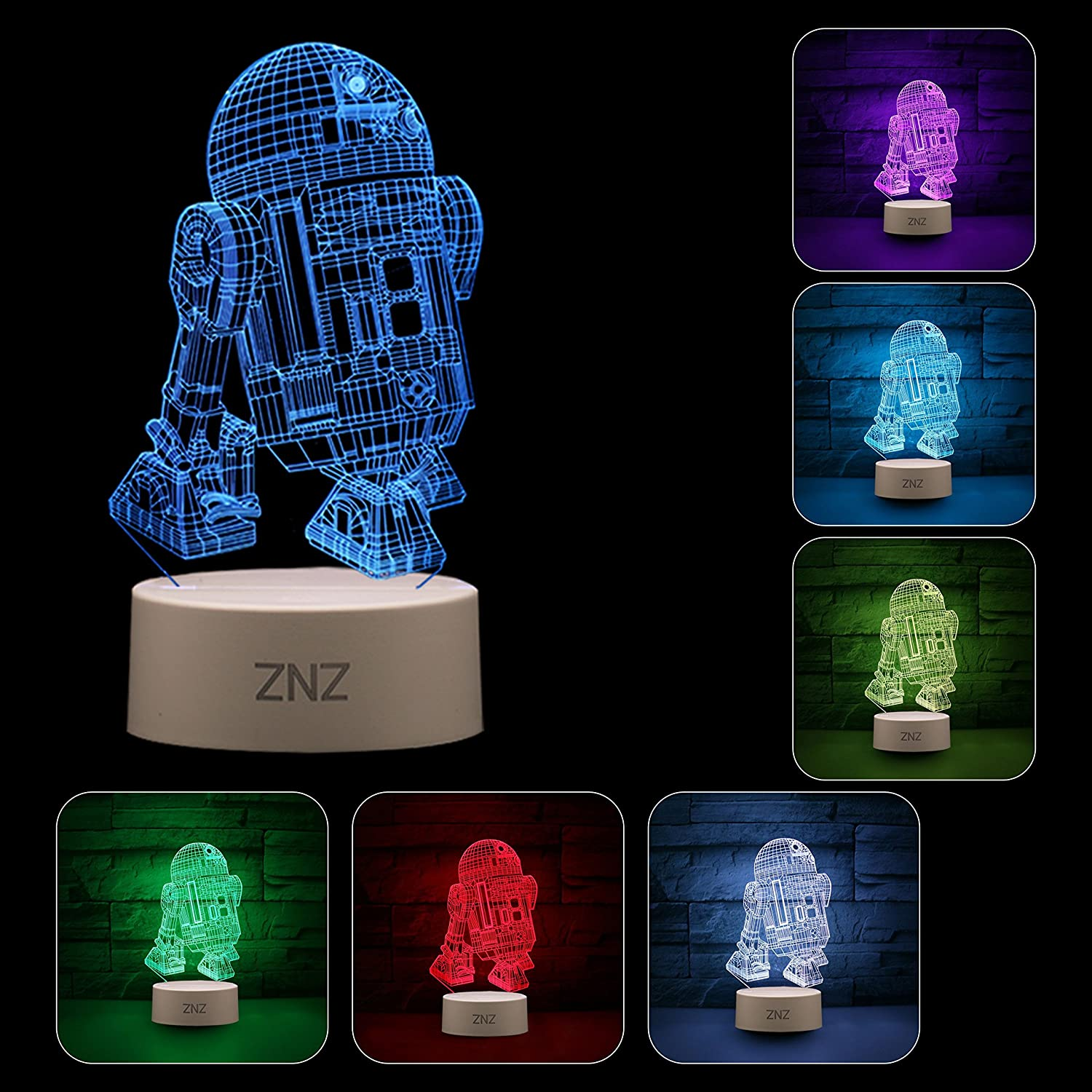 Cat 3D LED Star Wars Night Light Perfect Gifts for Kids and Room Room Decor ZNZ Illusion Lamp Three Pattern and 16 Color Change Decor Lamp