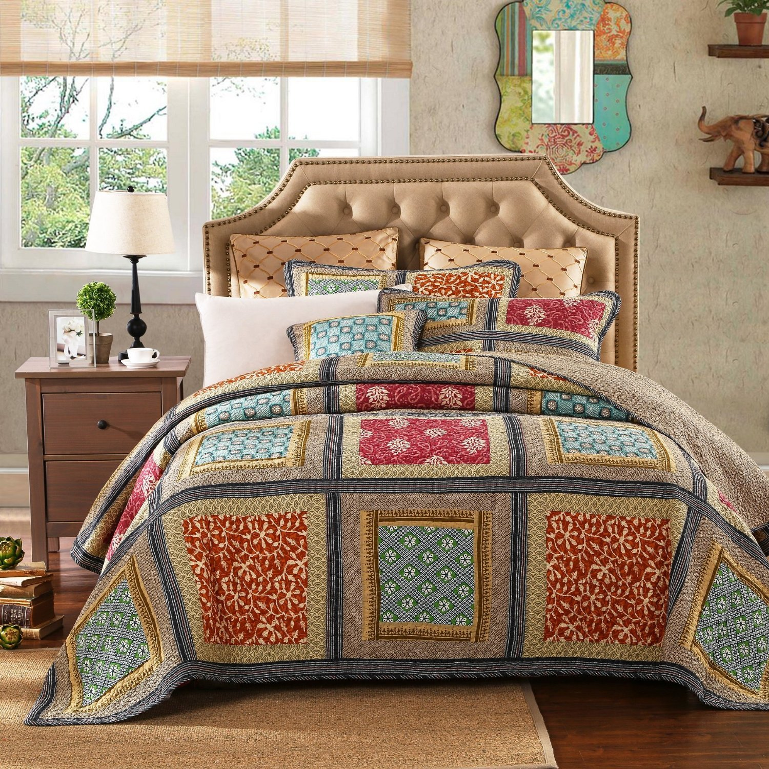 Dada Bedding Collection Reversible Bohemian Real Patchwork Gallery of Roses Cotton Quilt Bedspread Set, Multi-Colored, Cal King, 3-Pieces by DaDa Bedding Collection (Image #6)