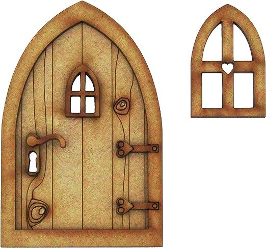 Puerta para casa de campo de hadas 3D (tridimensional), requiere montaje. Juego de manualidades compuesto por puerta de madera para hadas.Viene con ventana pequeña y mango para la puerta.: Amazon.es: Hogar