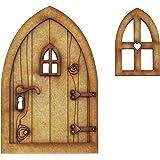 Puerta para casa de campo de hadas 3D (tridimensional), requiere montaje. Juego de manualidades compuesto por puerta de madera para hadas.Viene con ventana pequeña y mango para la puerta.