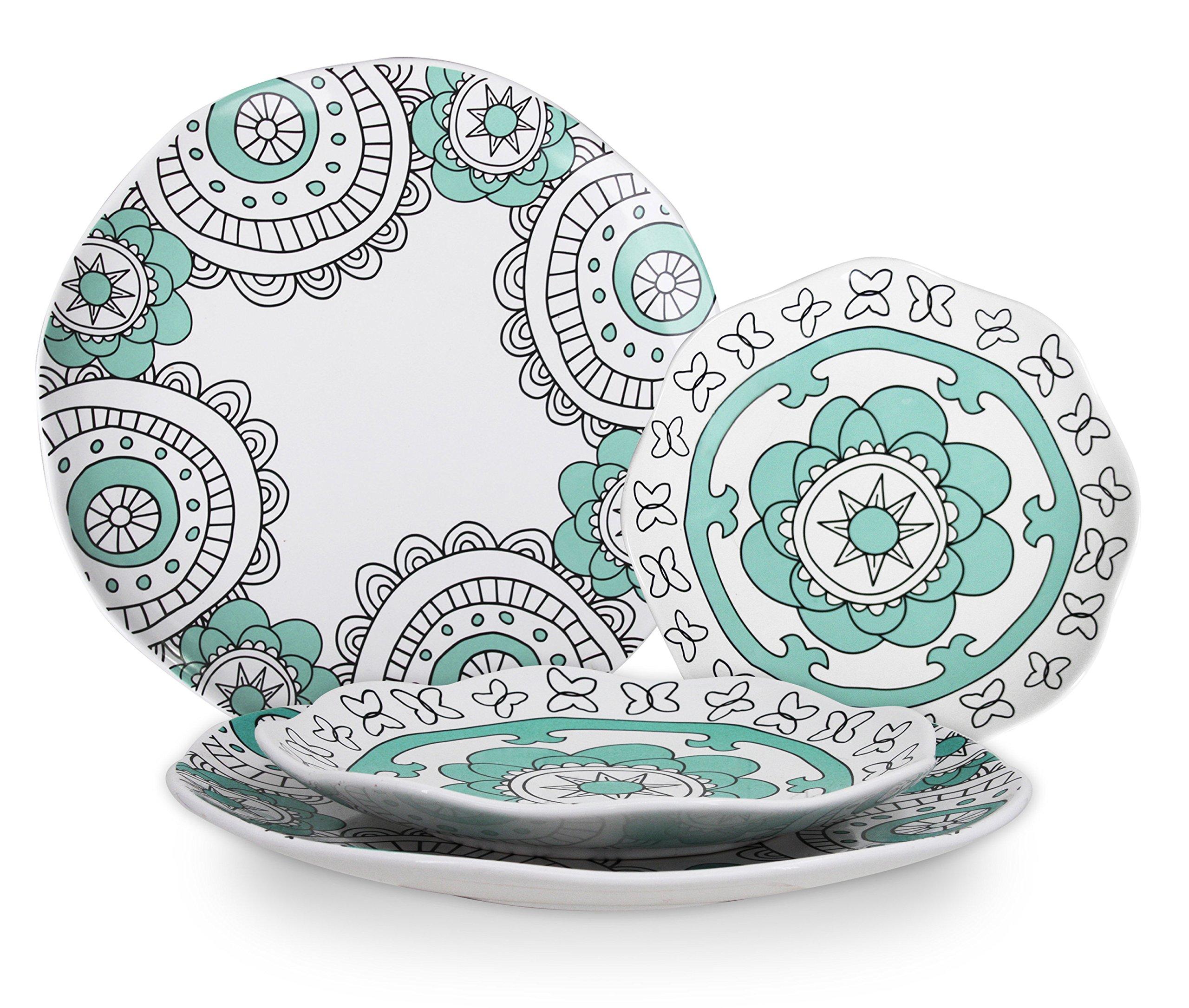 Dinner Plates Appetizer Salad Plate Set 4, Porcelain Mint Blue, Floral Pattern, Accent Serving Plates