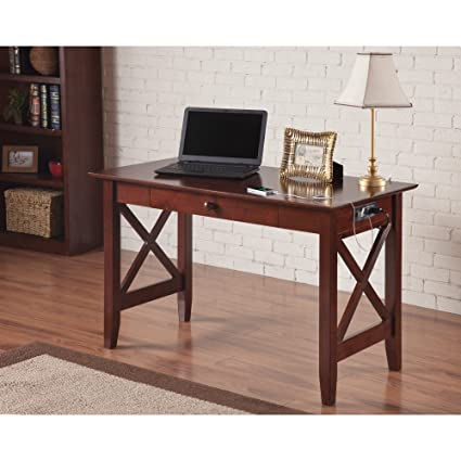 Atlantic Furniture Lexi Walnut Wood Desk With Drawer And USB Charging  Station