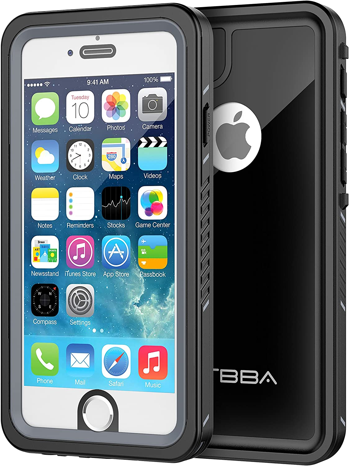 OTBBA iPhone 6/6s Waterproof Case, Sandproof with Touch ID Shockproof Snowproof Full Body Cover for iPhone 6/6s (Black)