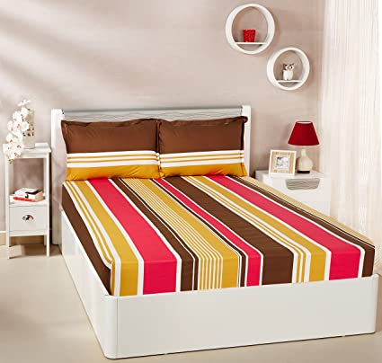 4f326dcf71f Amazon Brand - Solimo Vivid Stripes 144 TC 100% Cotton Double Bedsheet with 2  Pillow Covers