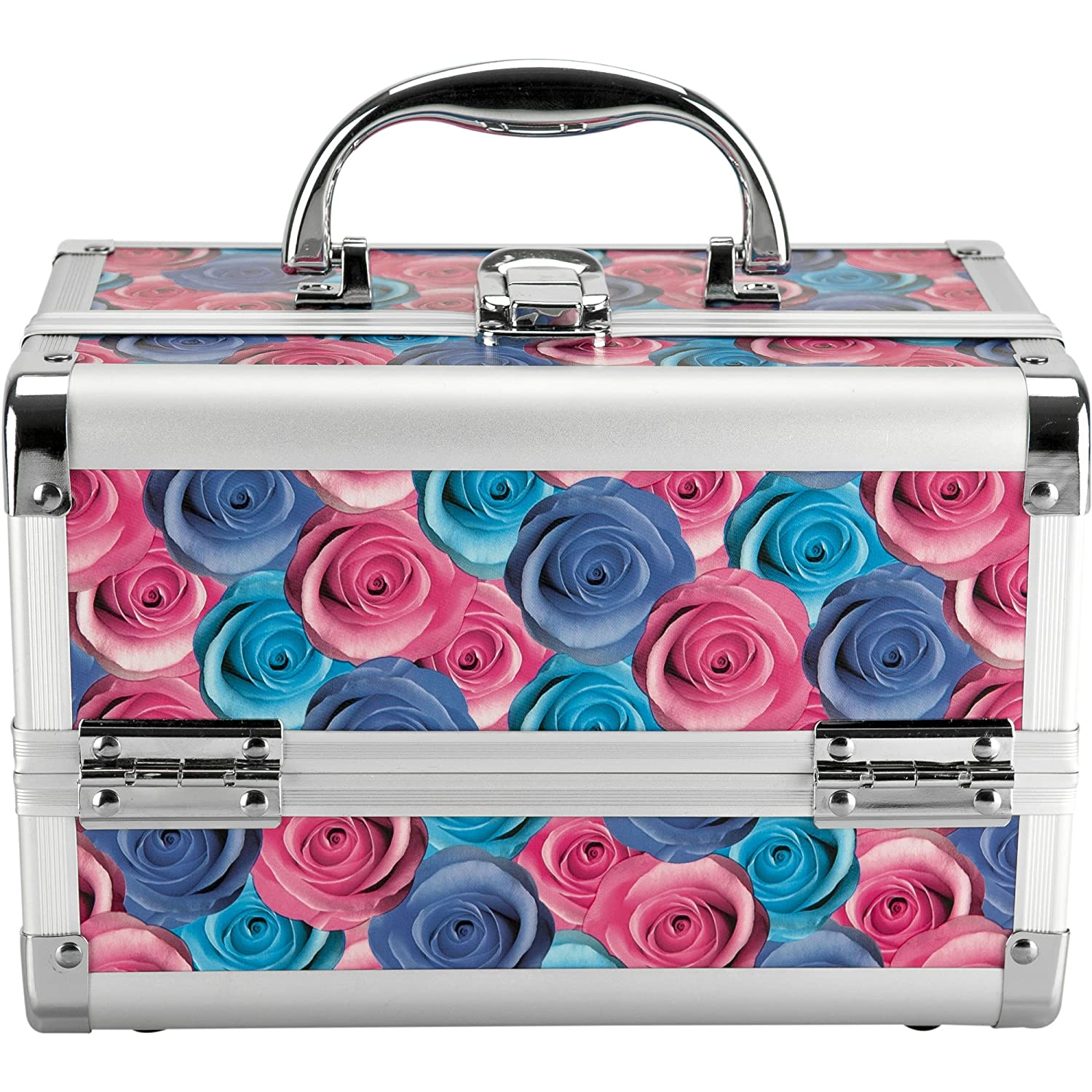 Hiker PT2201 Mini 2-Tiers Extendable Trays Makeup Train Case Portable Cosmetic Jewelry Box Organizer with Mirror, Floral PT2201RSRD