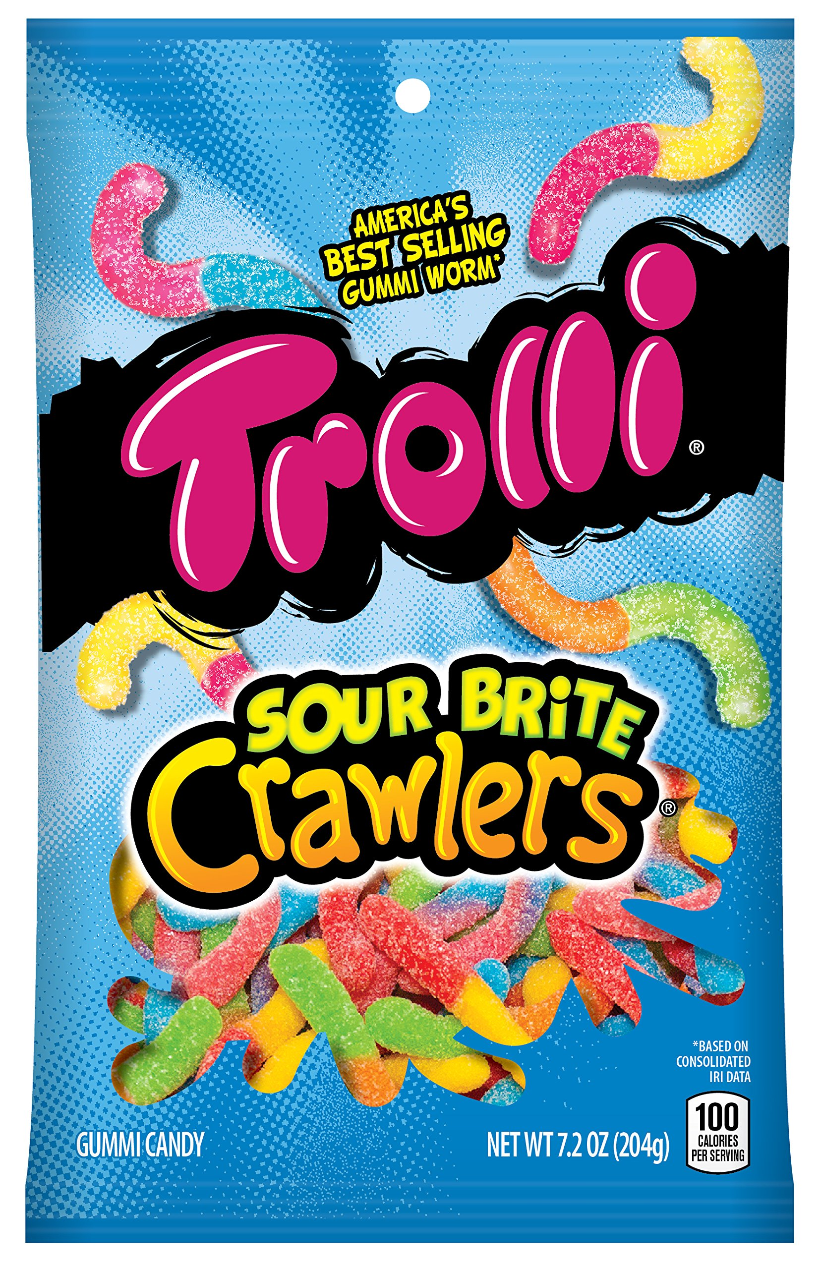 Trolli Sour Brite Crawlers Gummy Candy, 7.2 Ounce Bag, Pack of 12