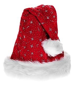 Weihnachtsmütze Pelzrand Glitzer Luxus Plüsch Nikolaus-Mütze Bommel rot 01