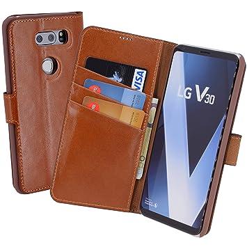 LG V30/V30 + | Suncase portatil de Style (Slim-Fit) piel ...