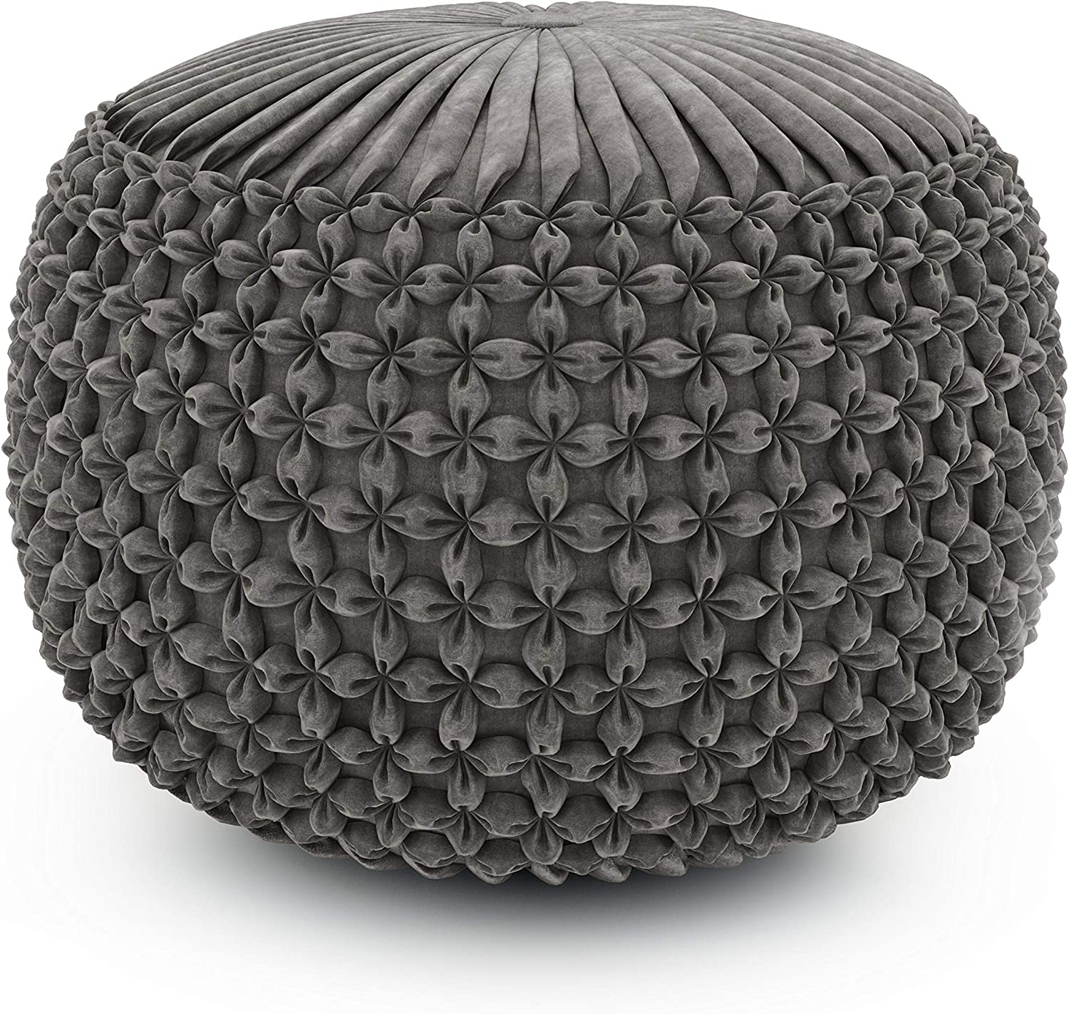 SIMPLIHOME Renee Round Pouf, Footstool, Upholstered in Dove Grey Velvet, for the Living Room, Bedroom and Kids Room, Transitional, Modern