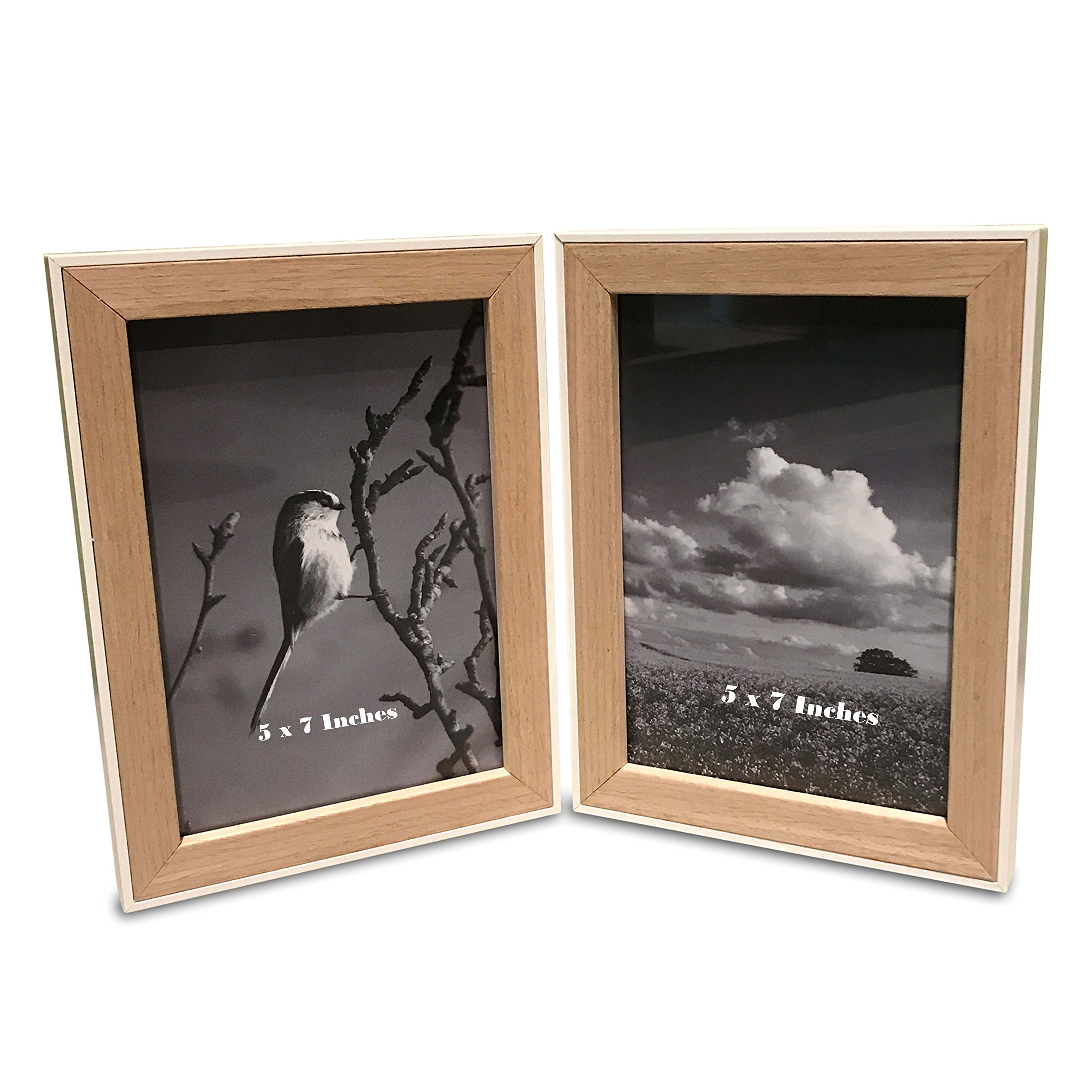 The Naturally Modern Hinged Double Photo Frame, for 2 5 X 7 Prints, Clean White Case Around Clear Stained Wood, Each Window measures 5 x7, Total Frame Size 6 W x 8 H Inches, By WHW
