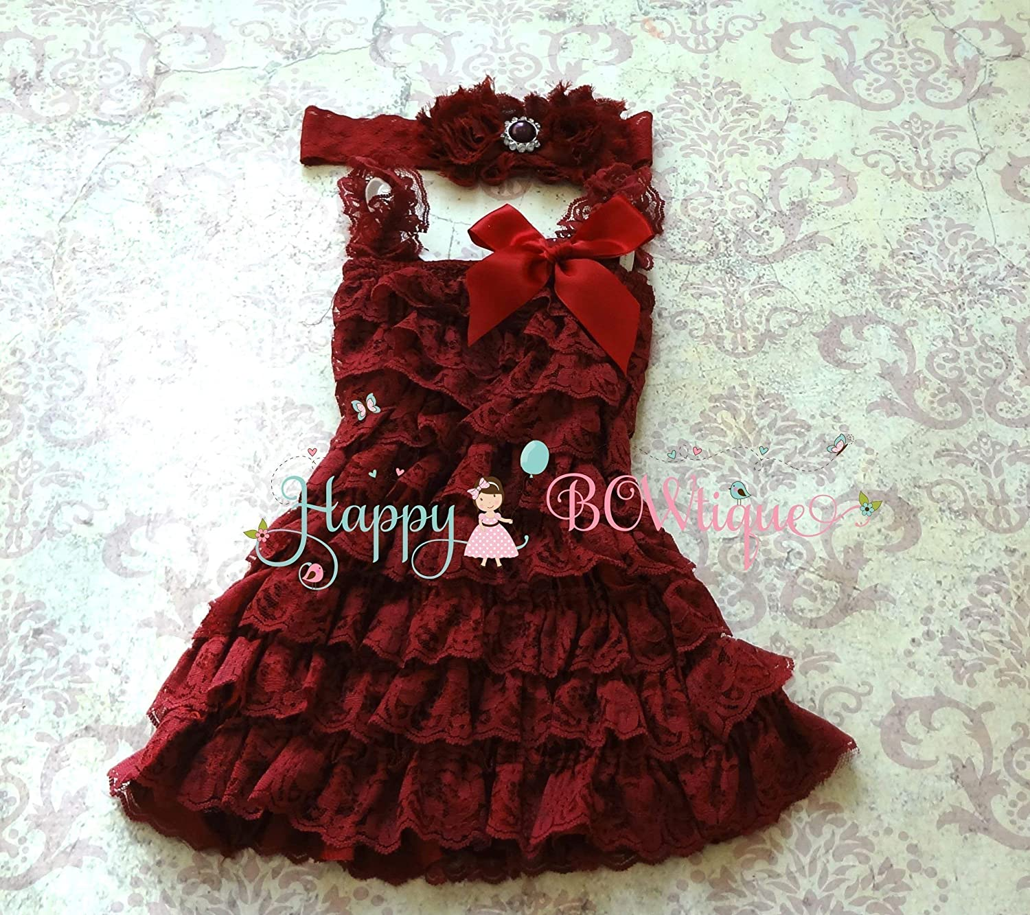 Flower Girl Burgundy Lace Dress Set Girls Burgundy Lace Dress Set