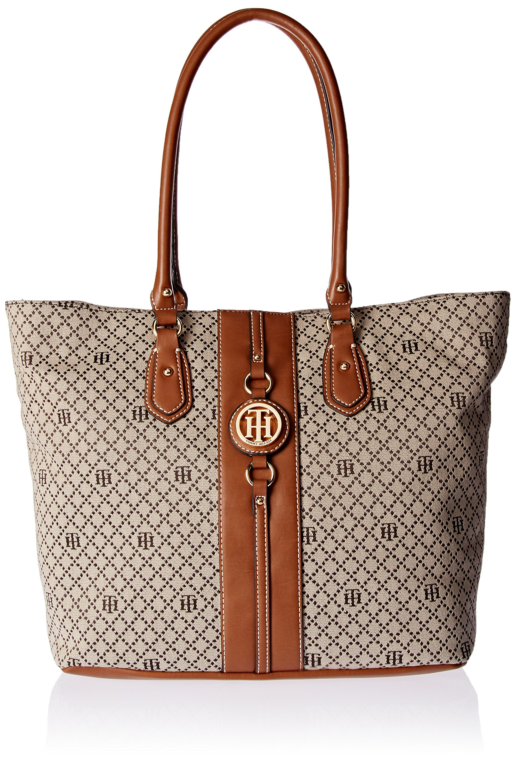 Tommy Hilfiger Travel Tote Bag for Women Jaden, Navy Natural, Tan Diamond by Tommy Hilfiger