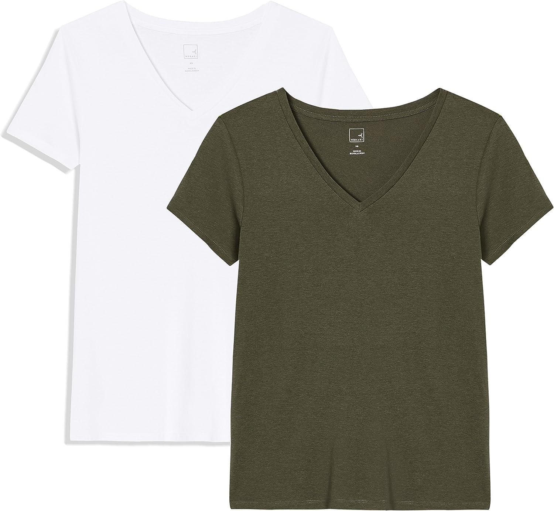 Marca Amazon - MERAKI V-Neck, Camiseta para Mujer, (Pack de 2)