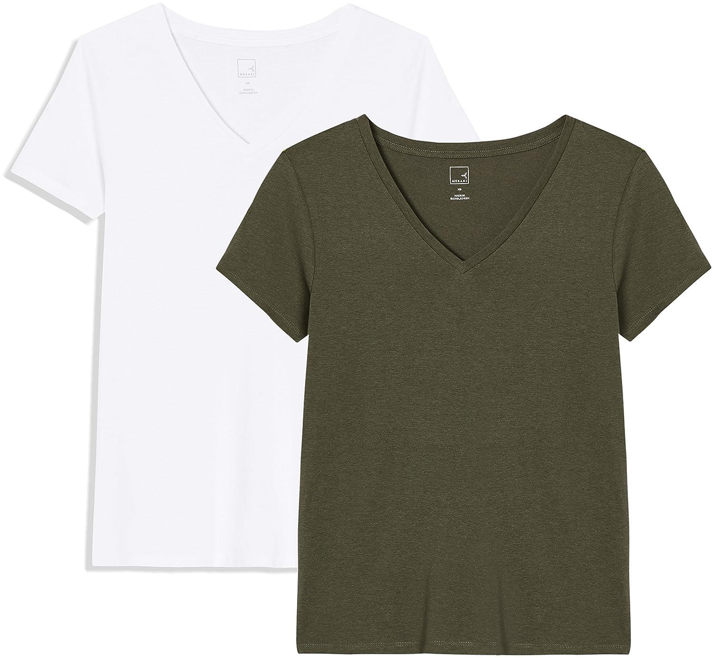TALLA 42 (Talla del fabricante: Large). Marca Amazon - MERAKI Camiseta con Cuello de Pico Mujer
