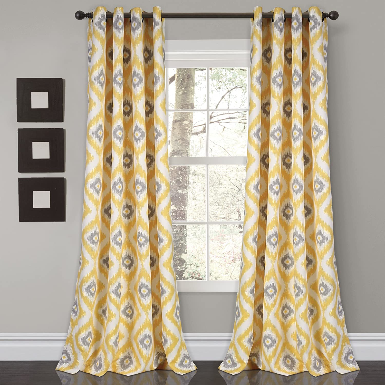 Lush Decor Room Darkening Window Curtain Panel Set, 0, Yellow/Gray