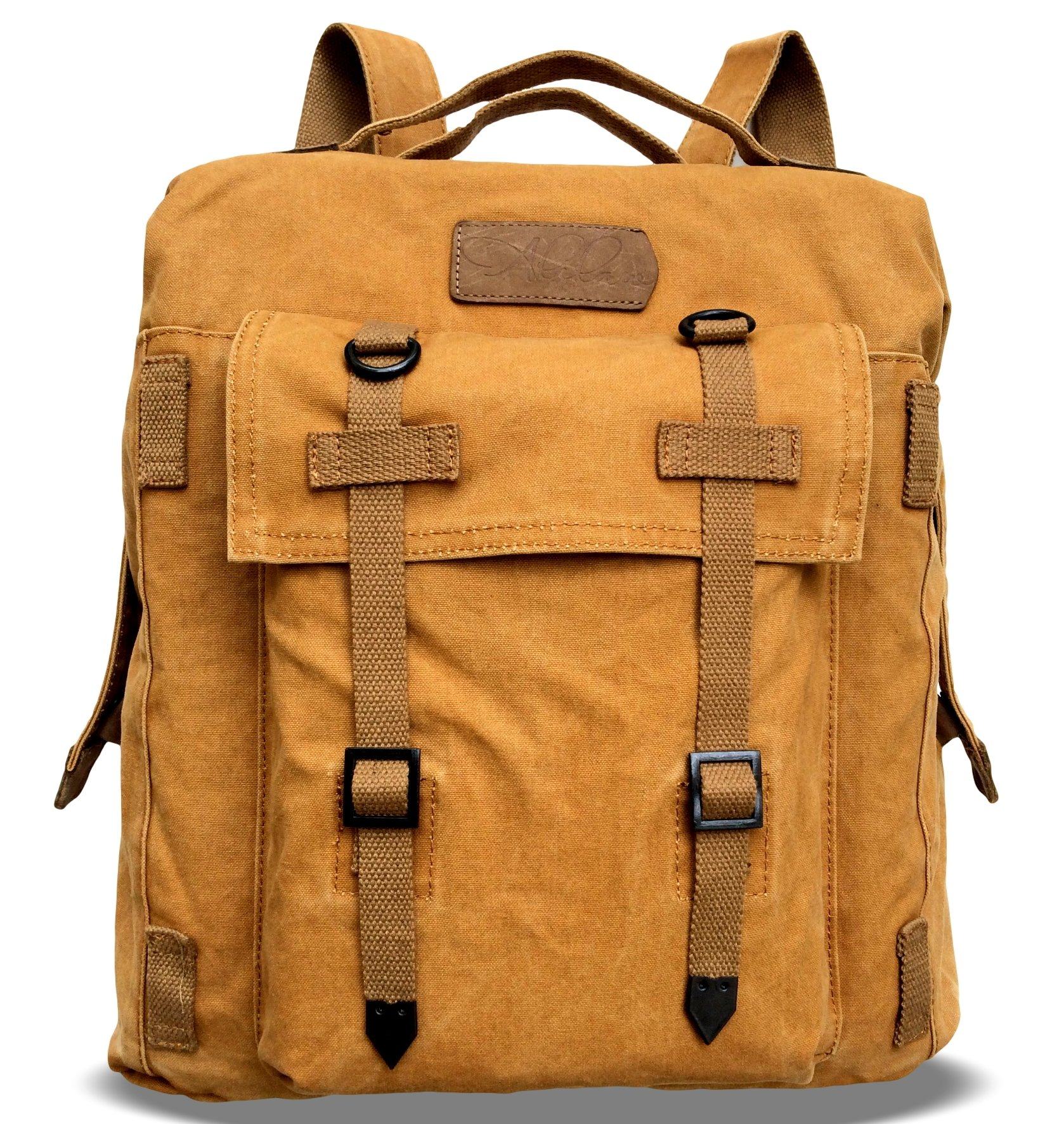 Alilaw Heavy Duty Canvas Backpack / Rucksack, Dual Use, Vintage Style, 16 Inch, Brown, Unisex