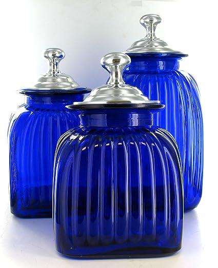 Merveilleux Colbalt Blue Glass Kitchen Canister Set Hand Blown