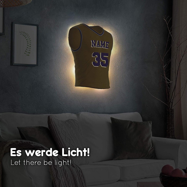 personalisierbares Geschenk schenke Dein individuellen Lissabon Fanartikel aus Echtholz Elbeffekt Trikotlampe f/ür Lissabon Fans aus Holz