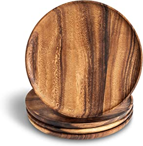 Zatory Acacia Wood Dinner Plates, 11 Inches Round Wood Plates Set of 4, Reusable Serving Plates, Easy to Clean and Lightweight Dinnerware Sets for Kitchen, Handcrafted Plates Indoor and Outdoor Use