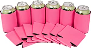 QualityPerfection 12 Beer Blank Can Cooler Sleeve, Coolies Sublimation HTV Insulated, Collapsible For DIY Customizable, Favors, Parties, Events or Weddings(12, Pink)