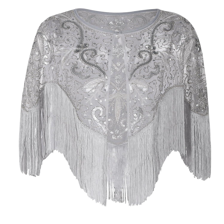 PrettyGuide Women's 1920s Shawl Vintage Sequin Fringed Bolero Flapper Evening Cape V2747C