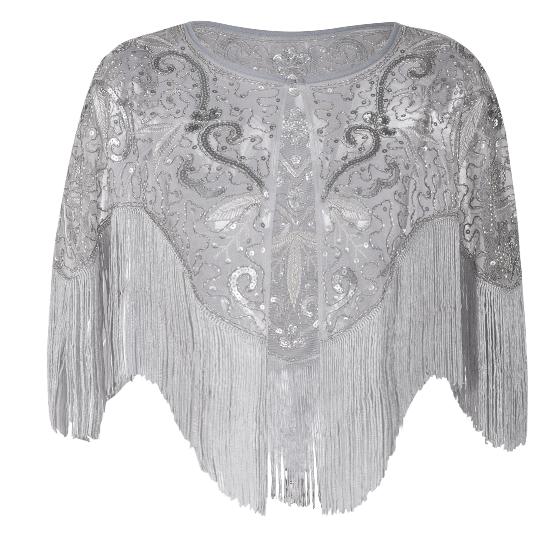 PrettyGuide Women's Flapper Shawl Bead Sequin Inspired 1920s Gatsby Evening Warps Matte Grey