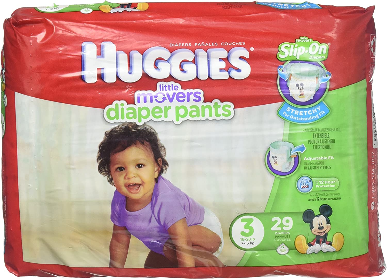 Huggies Little Movers Slip-On Diaper Pants - Size 3 16-28lbs(7-13kg)29 count