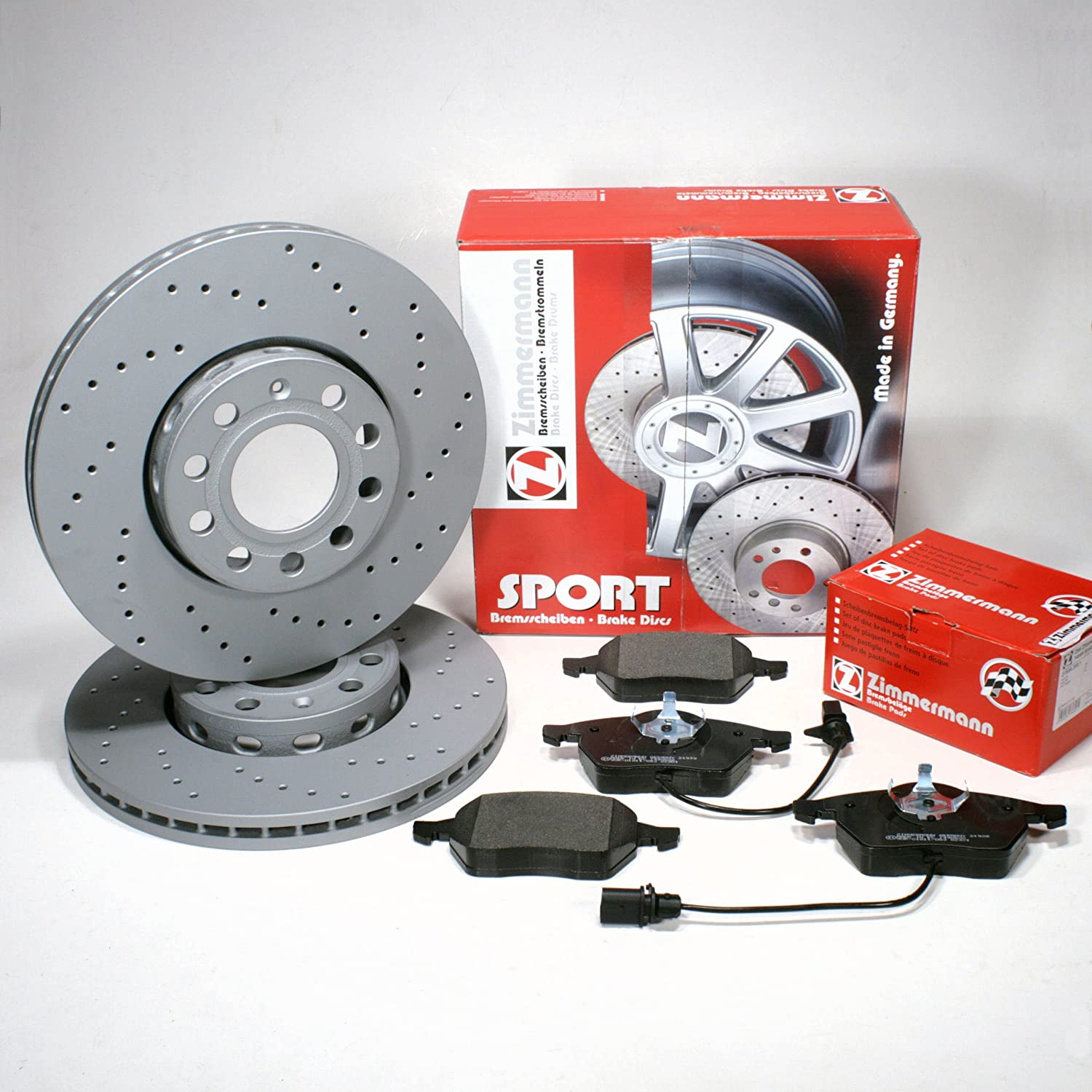 Zimmermann Sport Brake Discs Perforated Diameter 312 mm Coat Z/with Brake Front Cable Alarm/Front Axle Autoparts-Online