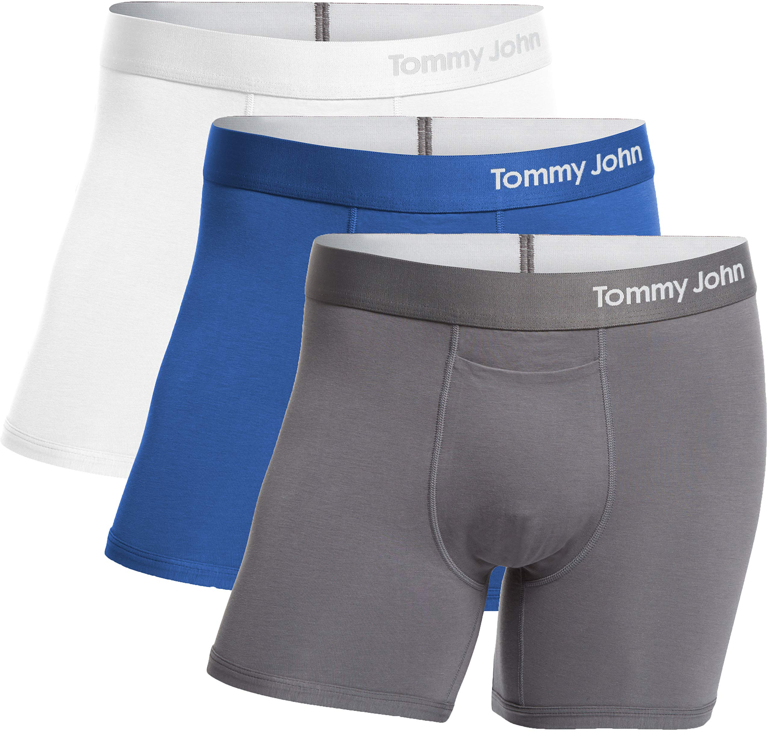 Tommy John Men's Cool Cotton Trunks - 3 Pack - Comfortable Breathable Soft Underwear for Men (White/TJ Blue/Iron Grey, Medium) by Tommy John